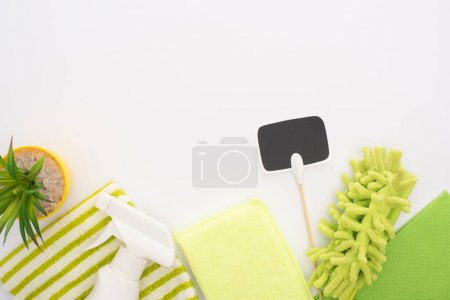 top view of houseplant and green cleaning supplies with blank card on white background