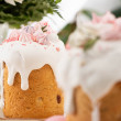 selective focus of Easter cakes with white glaze and meringue