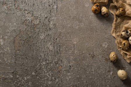 Foto de Top view of quail eggs on brown gauze on grey textured background - Imagen libre de derechos