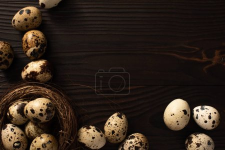 Photo for Top view of quail eggs in nest and on dark wooden background - Royalty Free Image