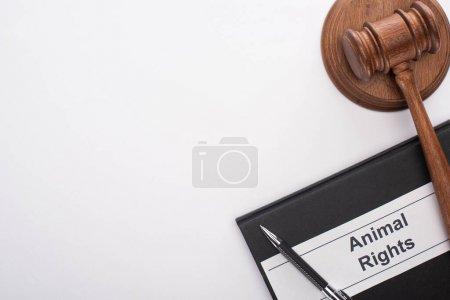 Photo pour Vue du haut du marteau et de la plume du juge sur carnet noir avec inscription sur fond blanc - image libre de droit