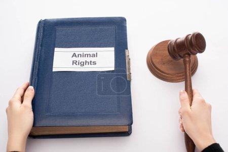 Photo pour Vue partielle du juge tenant le marteau et livre bleu avec inscription des droits des animaux sur fond noir - image libre de droit