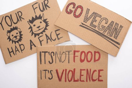 cardboard signs with go vegan, your fur had a face and its not food its violence inscriptions on white background