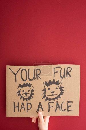 Photo pour Vue partielle de la femme tenant une pancarte en carton avec votre fourrure avait une inscription sur le visage sur fond rouge - image libre de droit