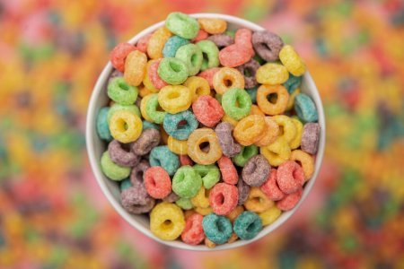 Photo for Selective focus of bright colorful breakfast cereal in bowl - Royalty Free Image