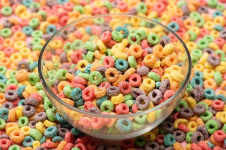 crunchy bright colorful breakfast cereal in bowl
