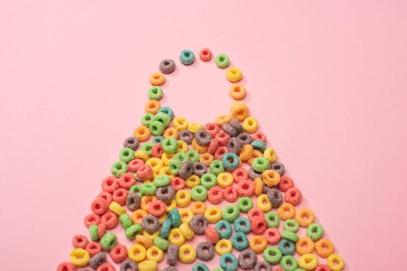 Photo for Bright colorful breakfast cereal on pink background - Royalty Free Image