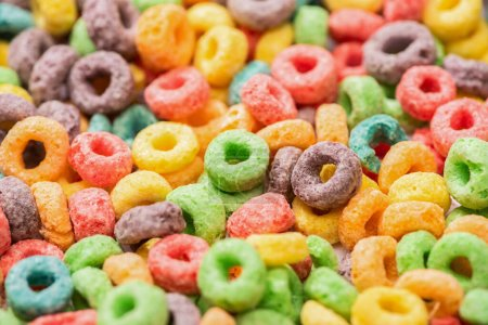 Photo for Close up view of bright multicolored breakfast cereal - Royalty Free Image