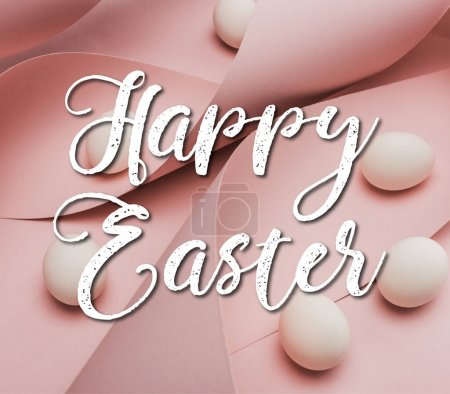 Photo for Chicken eggs in spiral paper pink swirls with happy Easter illustration - Royalty Free Image