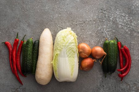 Photo for Top view of chili peppers, cucumbers, daikon radish, chinese cabbage and onions on grey concrete background - Royalty Free Image