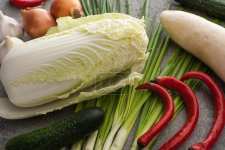 Photo for Top view of chinese cabbage, chili peppers, cucumbers, onions, daikon radish and green onions on concrete surface - Royalty Free Image