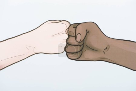 picture with drawn multiethnic hands doing fist bump