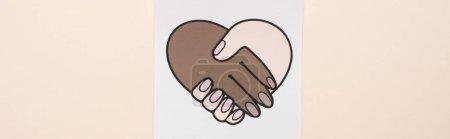 Photo pour Vue du dessus de l'image avec poignée de main multiethnique isolée sur beige, panoramique - image libre de droit