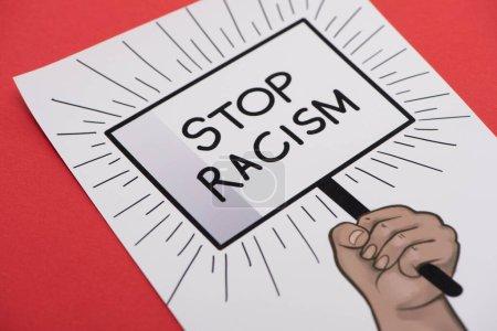 Foto de Con la mano tendida y poner fin al racismo en el fondo rojo - Imagen libre de derechos