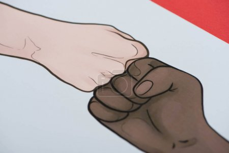 picture with drawn multiethnic hands doing fist bump on red background
