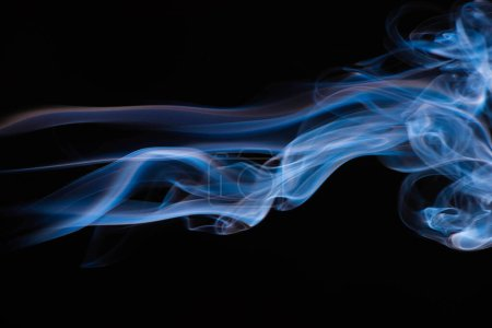 Photo for Blue colorful flowing smoke on black background - Royalty Free Image
