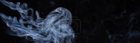 Photo for White flowing smoke cloud on black background with copy space, panoramic shot - Royalty Free Image