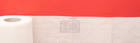 top view of white toilet paper roll on red background, panoramic shot