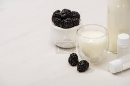Photo for High angle view of sugar bowl with blackberries, bottle and glass of yogurt near containers with starter cultures on white - Royalty Free Image