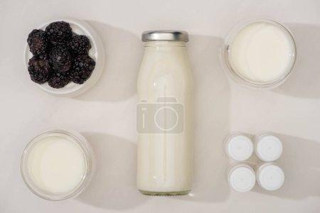 Photo pour Vue du dessus de la bouteille et des verres de yaourt maison, des récipients avec des cultures d'entrée et un bol à sucre avec des mûres sur blanc - image libre de droit