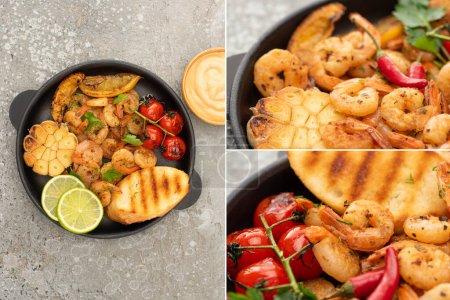 Photo pour Collage de crevettes frites avec des toasts grillés, légumes et citron vert près de la sauce sur fond de béton gris - image libre de droit