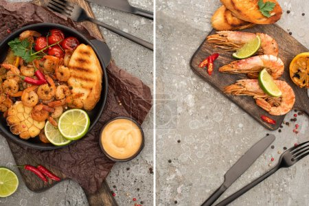 Photo for Collage of fried shrimps with grilled toasts, vegetables on boards near cutlery on grey concrete background - Royalty Free Image
