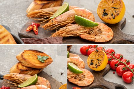 Photo for Collage of fried shrimps with grilled toasts, lemon and lime near cherry tomatoes on wooden board on grey concrete background - Royalty Free Image