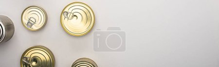 Photo pour Top view of cannettes with canned food on white background, food donation concept - image libre de droit