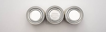 Foto de Apartamento con latas de plata sobre fondo blanco, concepto de donación de alimentos. - Imagen libre de derechos