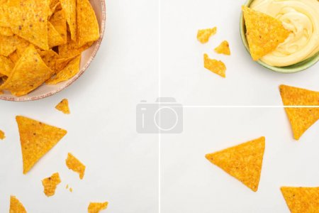 Photo for Collage of corn nachos with cheese sauce on white background - Royalty Free Image