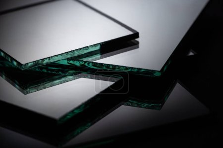 Photo for Close up view of square mirror pieces in stack - Royalty Free Image