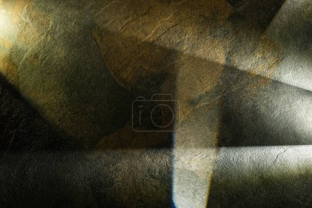 Photo for Light prism with beams on dark stone texture background - Royalty Free Image