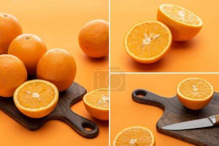 Photo pour Collage d'oranges entières juteuses mûres et coupées avec couteau et planche à découper en bois sur fond coloré - image libre de droit
