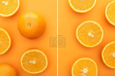 Photo pour Collage d'oranges entières juteuses mûres et de tranches sur fond coloré - image libre de droit