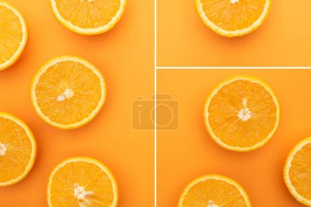 collage of ripe juicy orange slices on colorful background