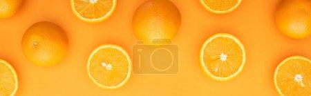 Foto de Vista superior de naranjas enteras jugosas maduras y rodajas sobre fondo colorido, cultivo panorámico - Imagen libre de derechos