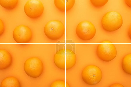 Photo for Collage of ripe juicy whole oranges on colorful background - Royalty Free Image