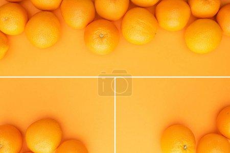 Photo pour Collage d'oranges entières juteuses et mûres sur fond coloré avec espace de copie - image libre de droit