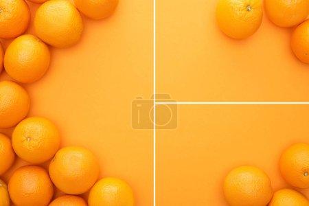 Photo pour Collage d'oranges entières juteuses mûres sur fond coloré avec espace de copie - image libre de droit