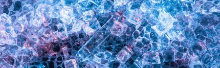 Photo for Top view of abstract blue glass textured background, panoramic shot - Royalty Free Image