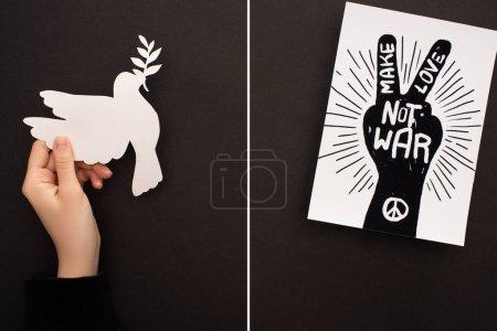 Photo pour Collage de main féminine avec papier colombe blanche et papier avec dessin à la main, signe de paix et faire l'amour pas la guerre lettrage sur fond noir - image libre de droit