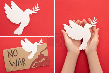 Photo for Collage of female hands, white paper dove and cardboard placard with no war lettering and bomb on red background - Royalty Free Image