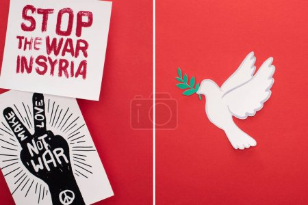 Foto de Collage of white dove as symbol of peace, placards with stop war in Syria and make love not war lettering on red background. - Imagen libre de derechos