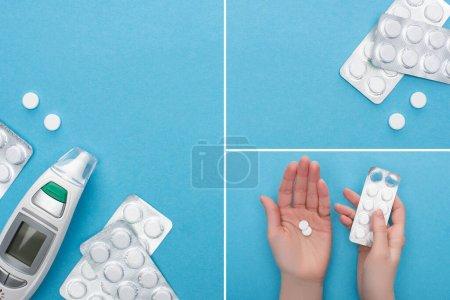 Photo pour Collage de pilules en plaquettes thermoformées, mains féminines et thermomètre infrarouge sur fond bleu - image libre de droit