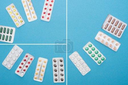 Photo pour Collage de pilules colorées en plaquettes thermoformées sur fond bleu - image libre de droit