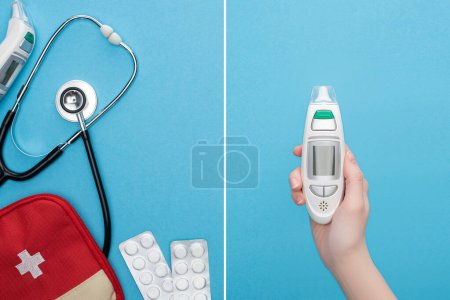 Photo for Collage of pills in blister packs, first aid kit, stethoscope and female hand with ear thermometer on blue background - Royalty Free Image