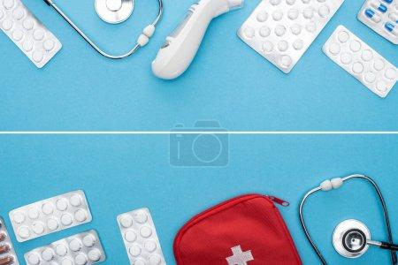 Photo pour Collage de pilules en plaquettes thermoformées, stéthoscopes, trousse de premiers soins et thermomètre auriculaire sur fond bleu - image libre de droit