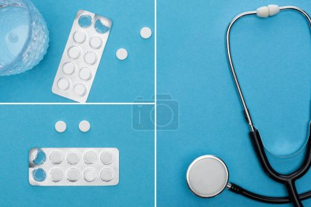 Photo for Collage of pills in blister packs, glass of water and stethoscope on blue background - Royalty Free Image