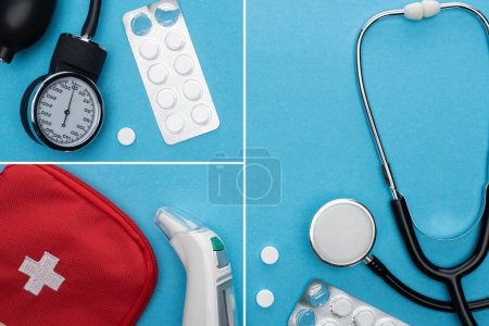 Photo for Collage of sphygmomanometer, pills in blister pack, stethoscope, first aid kit and ear thermometer on blue background - Royalty Free Image