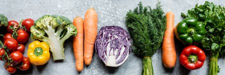 Photo for Top view of fresh ripe vegetables on grey concrete surface, panoramic crop - Royalty Free Image